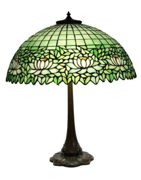 177: Antique Handel Water Lily Art glass lamp