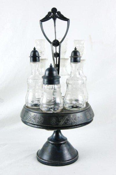 3: Antique cruet set w 6 bottles