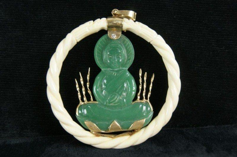 4: 14kt Gold carved ivory & jade Buddha pendant
