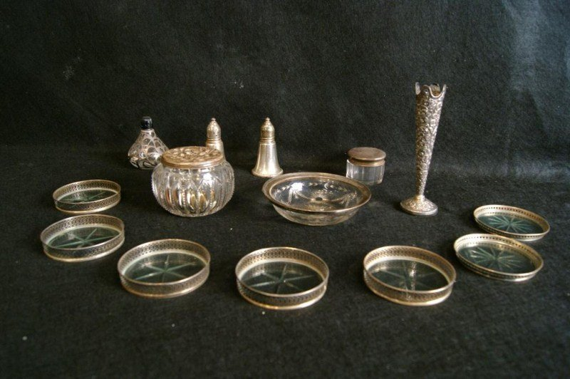 5: Sterling and silver overlay dresser jars, perfume