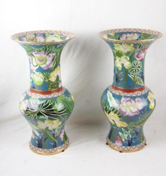 """14: Pair Cloisonné vases depicting Lotus ponds - 19""""h"""