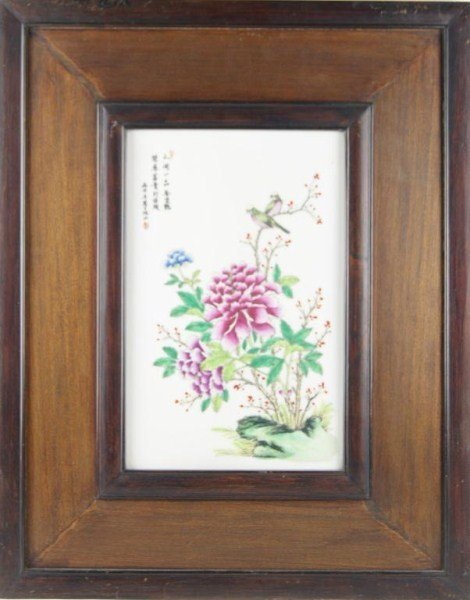 18: Chinese Porcelain flower plaque
