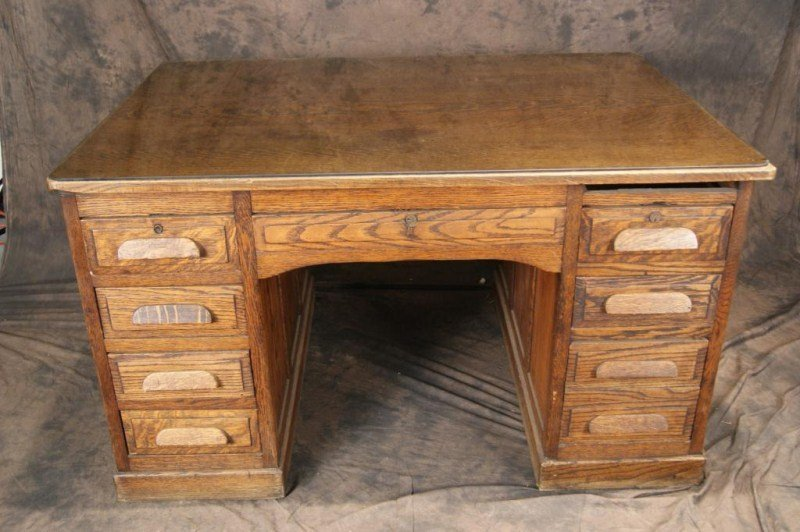 """34A: Antique Oak 54"""" Partner's desk"""