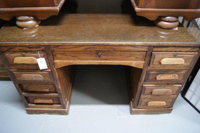 """34A: Antique Oak 54"""" Partner's desk - 2"""