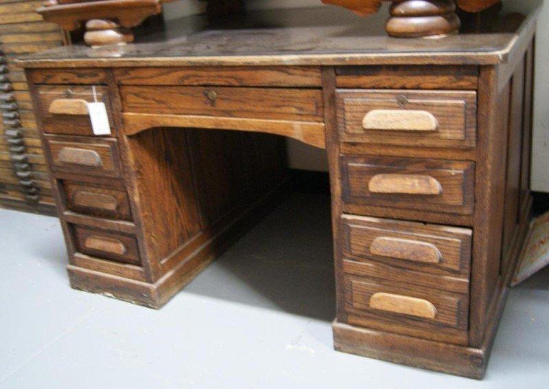 """34A: Antique Oak 54"""" Partner's desk - 3"""