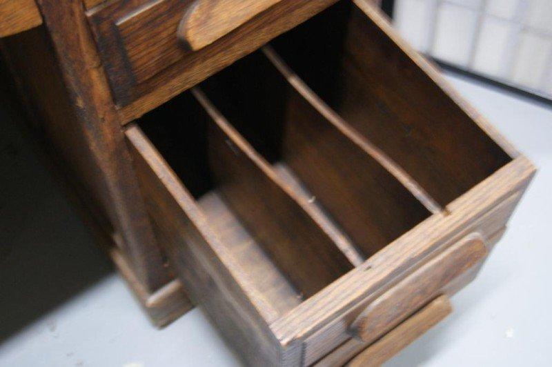 """34A: Antique Oak 54"""" Partner's desk - 4"""