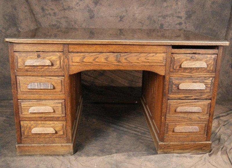 """34A: Antique Oak 54"""" Partner's desk - 5"""