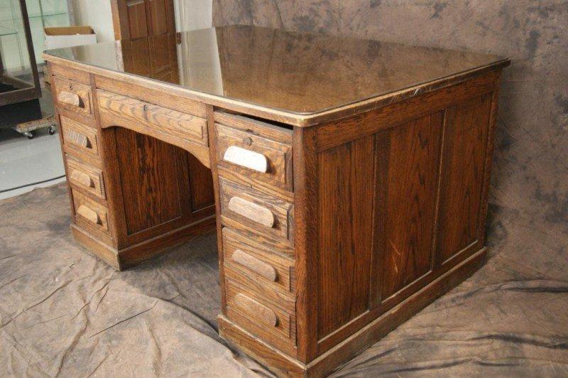 """34A: Antique Oak 54"""" Partner's desk - 6"""