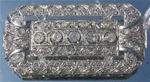 173 French Art Deco platinum  diamond brooch
