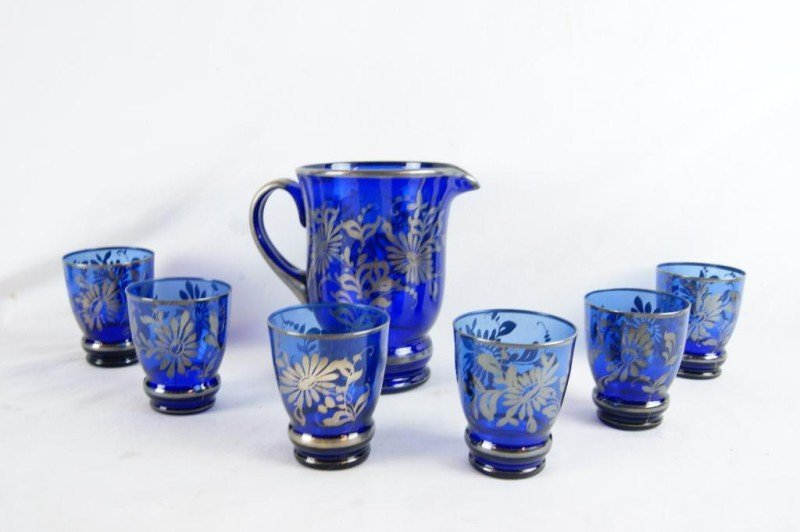2A: Silver overlay cobalt pitcher & 6 glasses