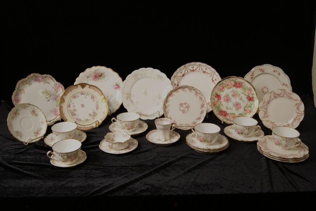 Limoges rose floral porcelains - cups/saucers