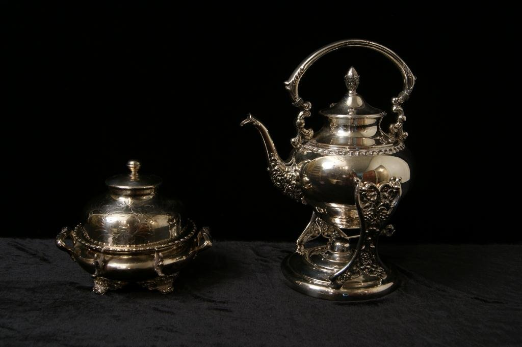 19th c Silver plate coffee dispenser & butter dish