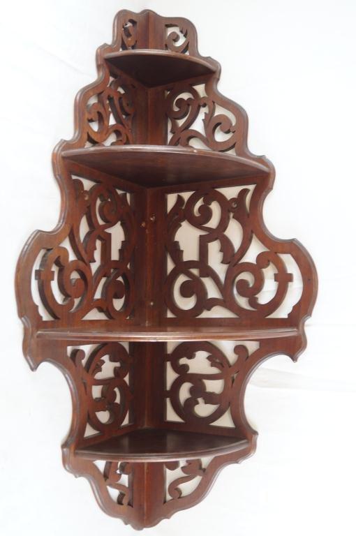 Wooden what not corner shelf