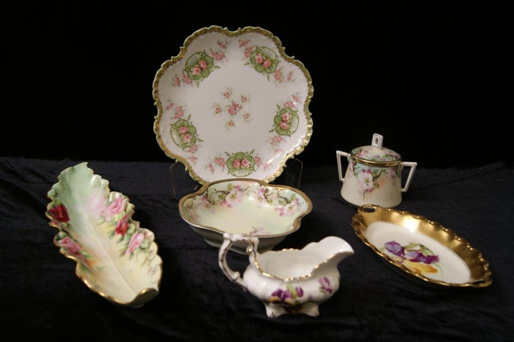 Bavaria, Limoges rose floral porcelains - 6pcs