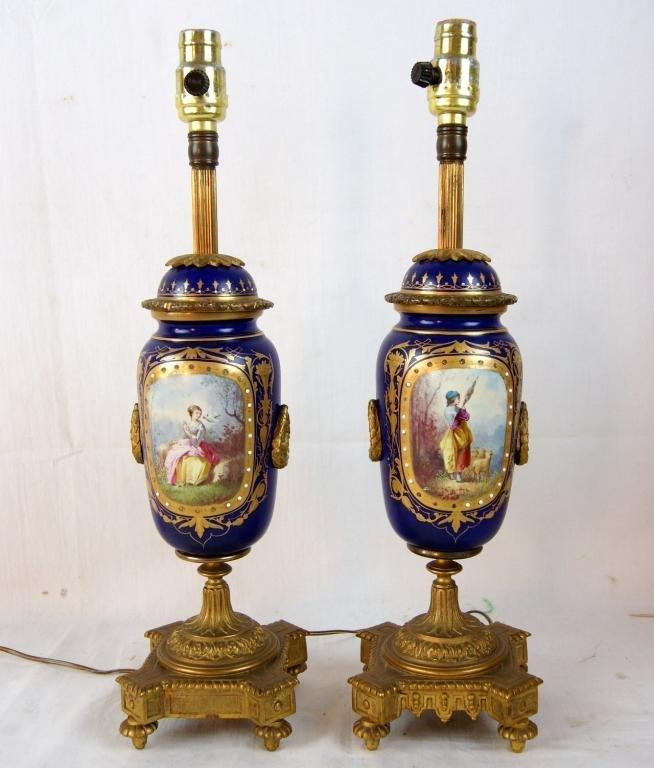 """French Sevres 15"""" Porcelain cobalt  Portrait lamps"""