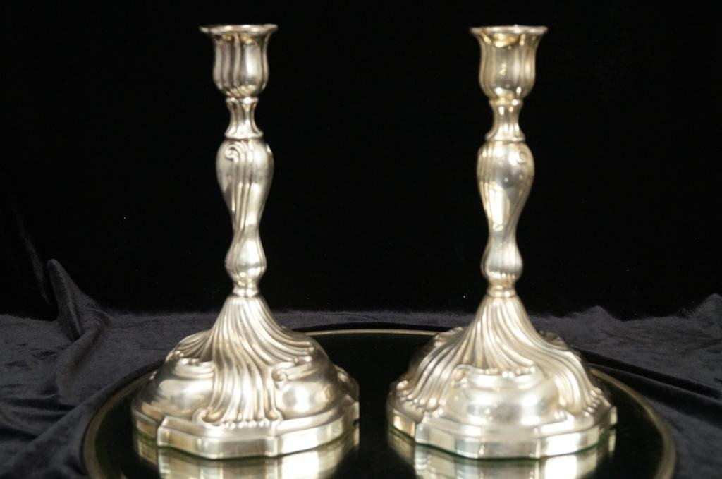 Pair silver candlesticks - Swedish silver (830) KA
