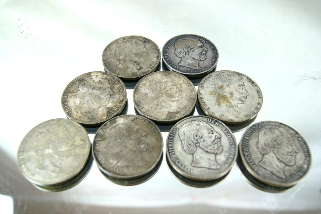 Dutch 1880's Silver coins (9) and 17 1800's Yen