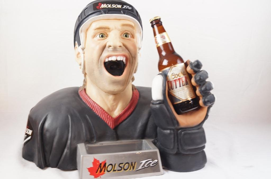 Molson Ice Hockey Player bust bottle opener