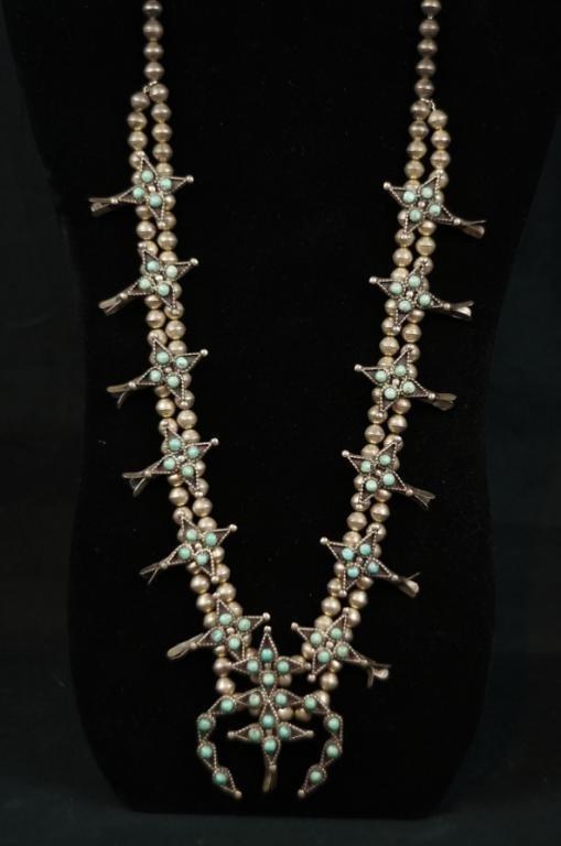 """Zuni petit point squash blossom necklace - 30"""""""