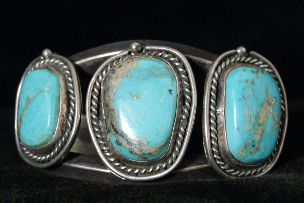 Old pawn turquoise silver 3 stone bracelet