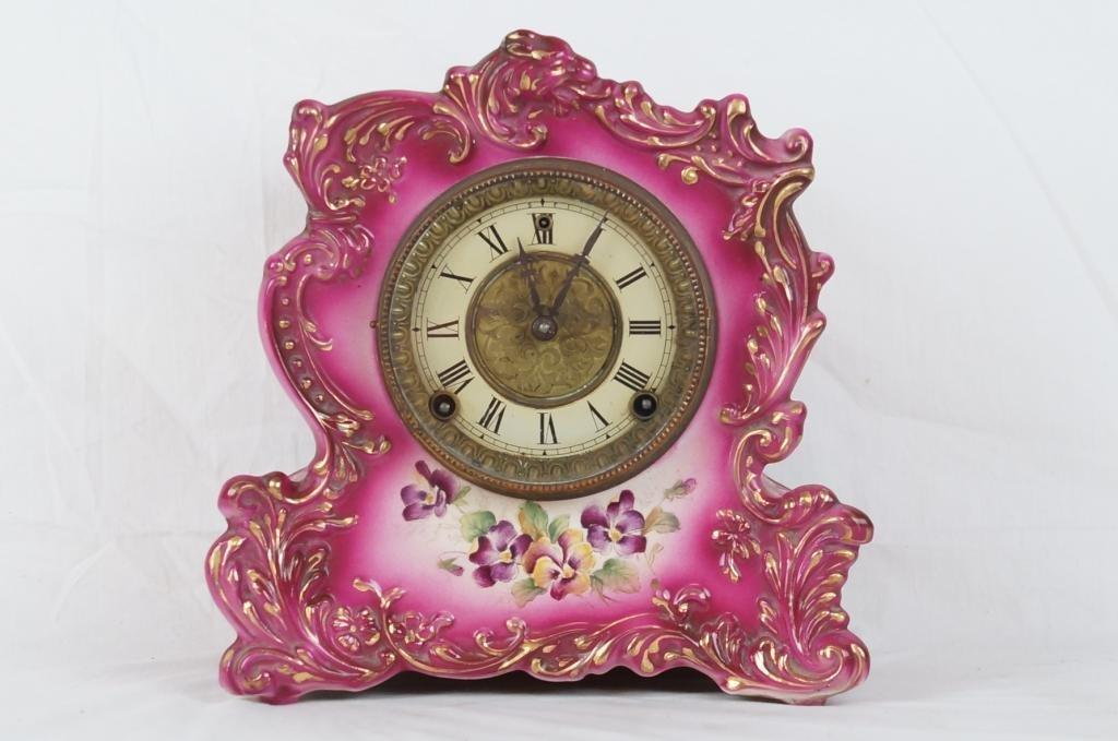 Antique Gilbert Clock in porcelain case