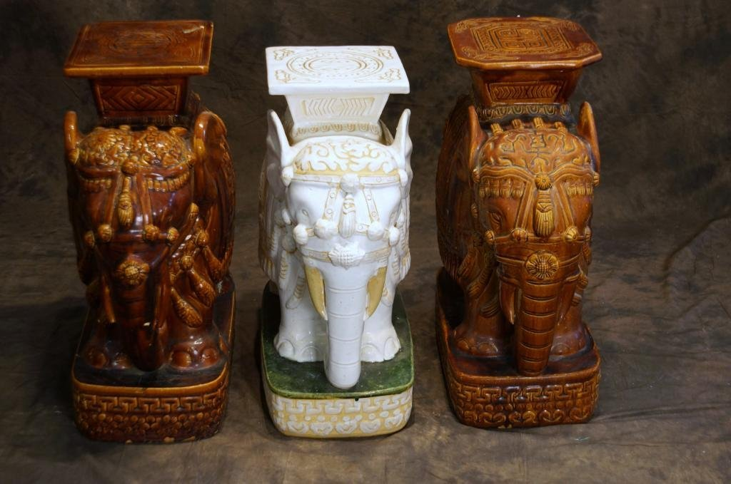 Three Ceramic Elephant garden benches