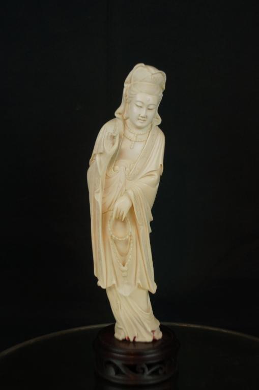 "Chinese ivory statue - Quan Yin ""Melay"" 10"""