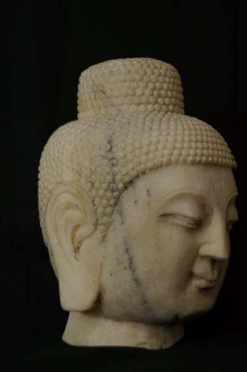 "Carved Marble Buddha Head 11"" x 7"" x 8"""