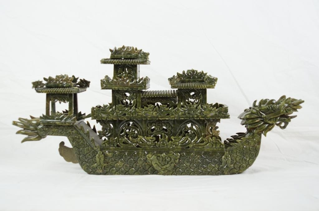 """Chinese spinach jade carved boat  24""""x11"""""""