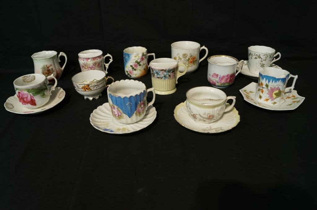 Collection of 12 antique mustache cups