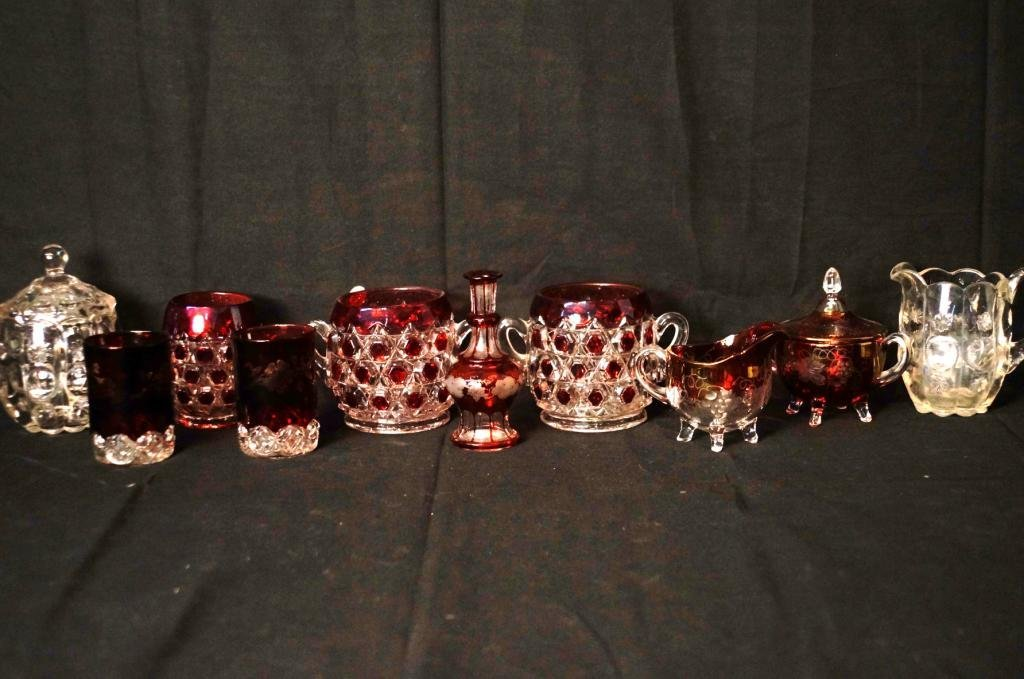 Ruby Cut to Clear Glassware + more -10 pcs.