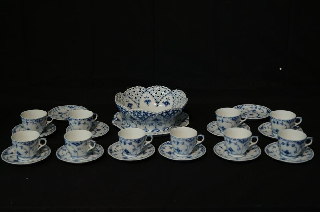 Royal Copenhagen bowl platter & cups saucers