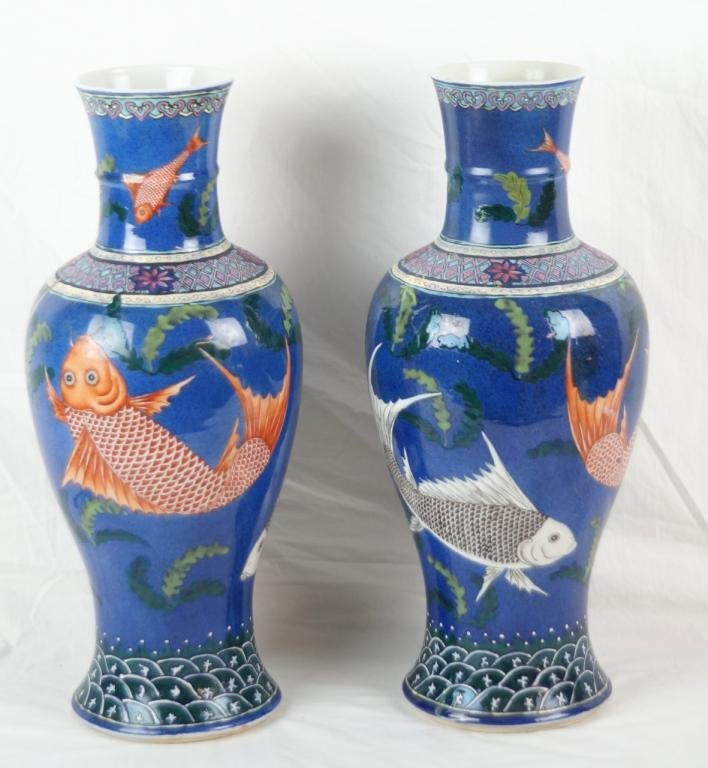 """Pair of 18"""" 19th c. Chinese """"Ching Dynasty"""" vases"""