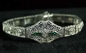 Art Deco platinum top 14kt diamond bracelet w