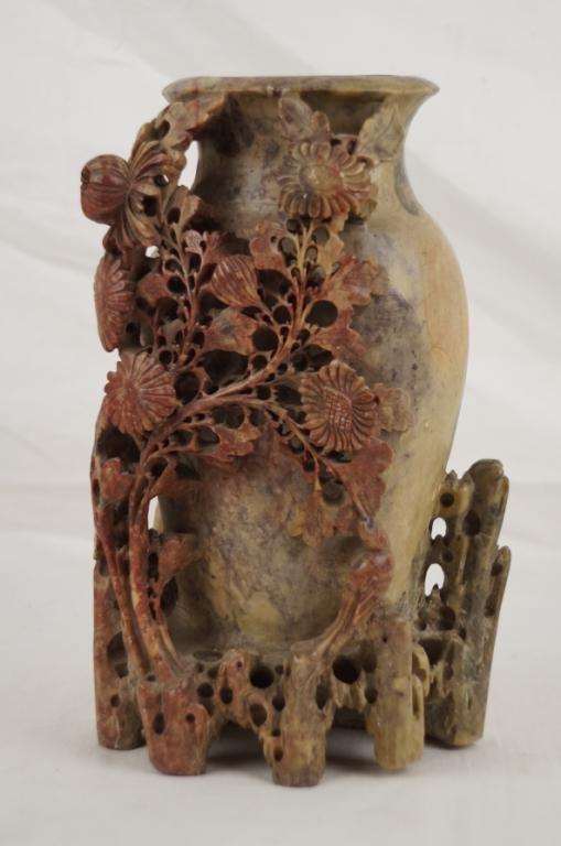 Chinese highly carved soapstone Vase