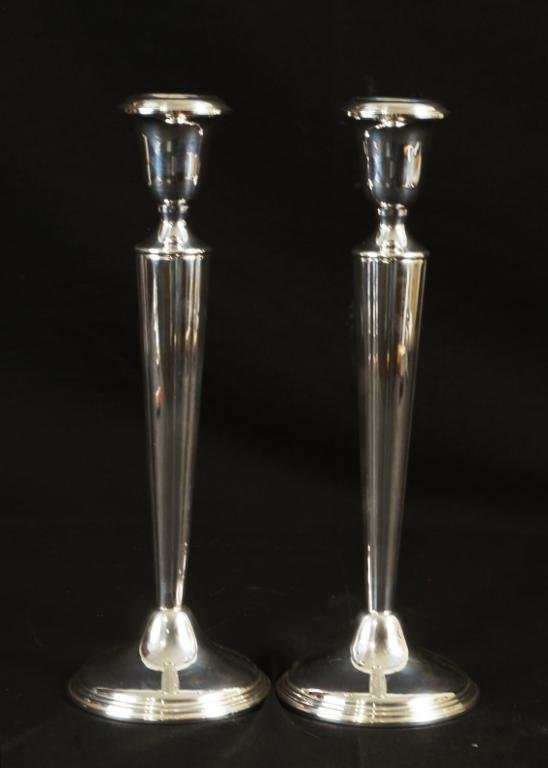 """Pair of 10"""" sterling candlesticks"""