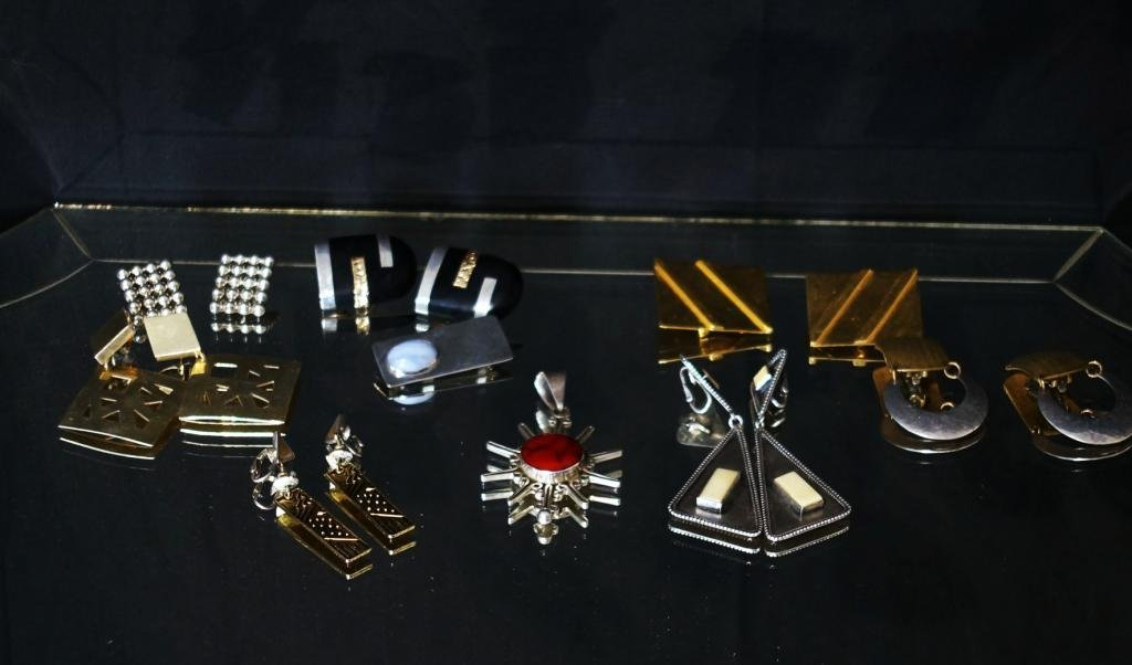Sterling earrings, pins - M. Baer SF, Suzanne St Cl