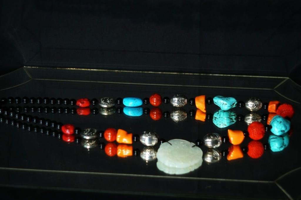 Jade, coral, turquoise, cinnabar, silver necklace