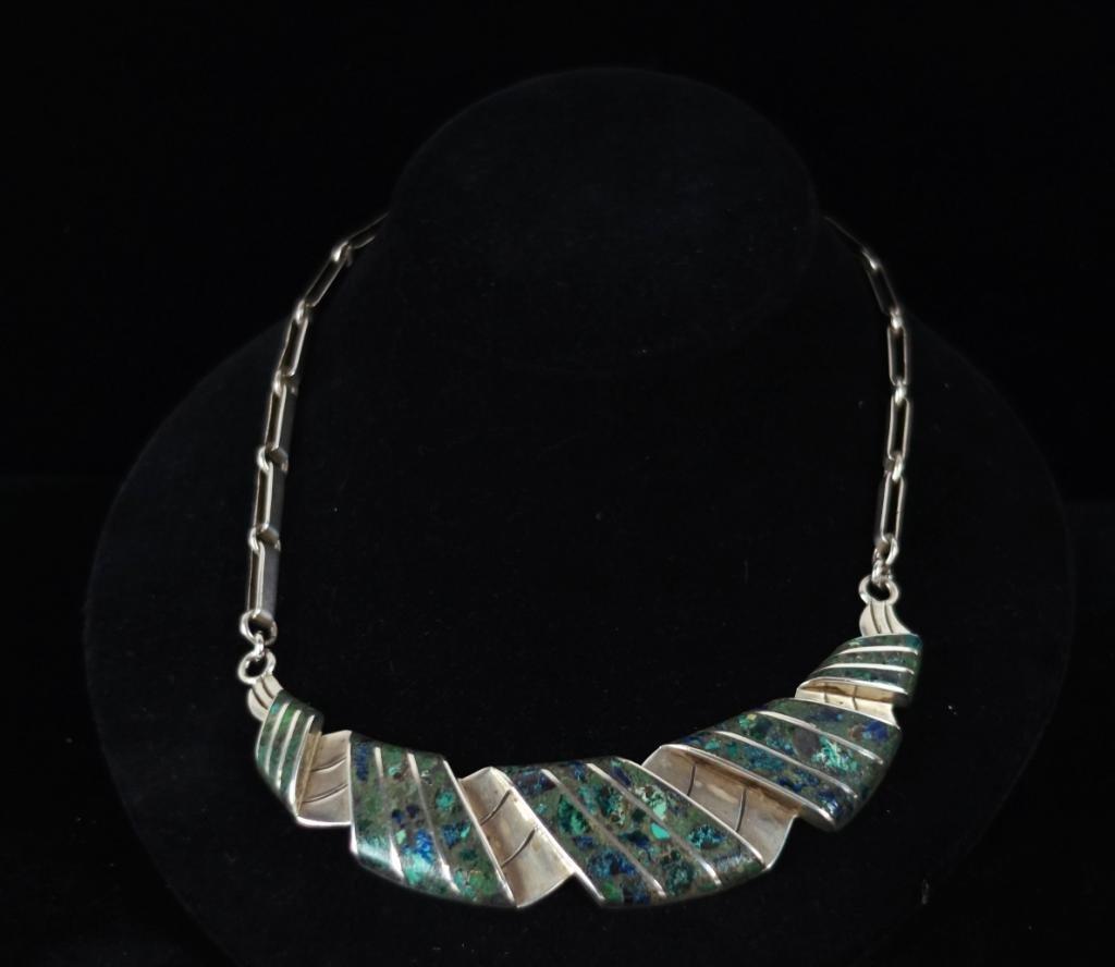 Taxco Mexico silver necklace w inlaid stone work