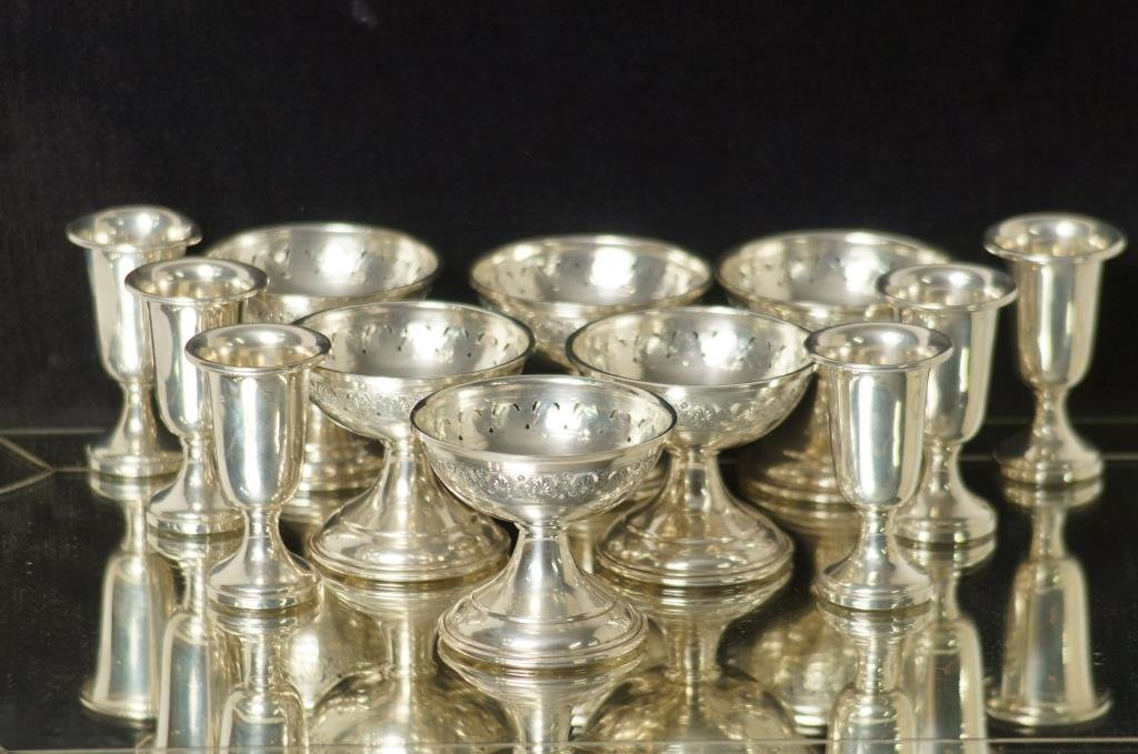 12 Sterling pieces Sherbets & Liquors