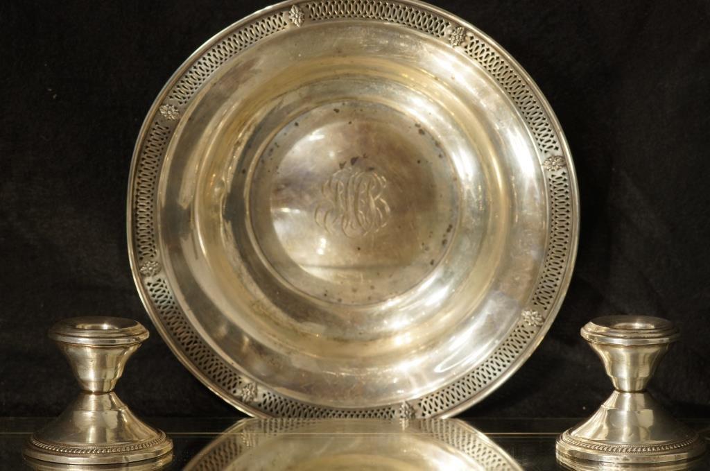 Sterling pierced bowl/candle sticks Roman monogram