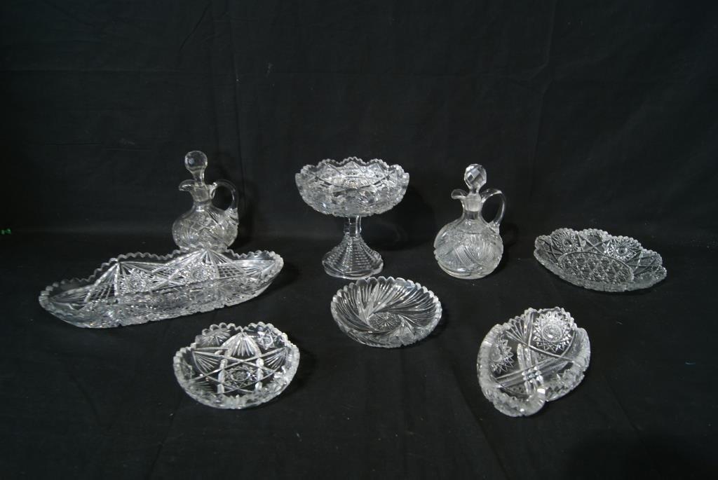 Collection of antique cut glass-8pcs