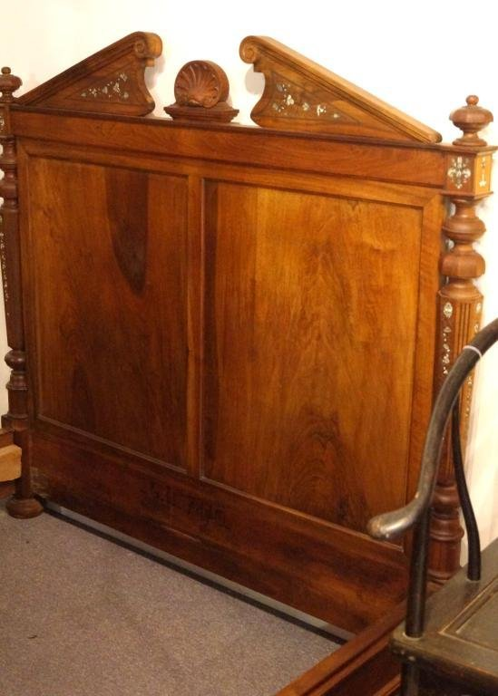Walnut European bed w Mother of pearl inlay
