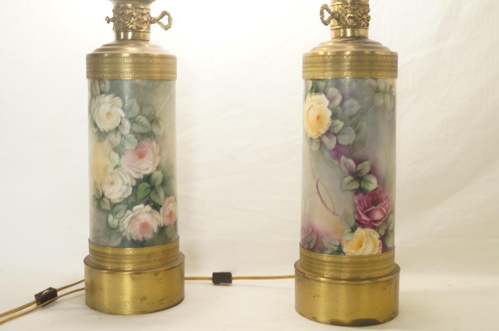 Pair floral porcelain lamps