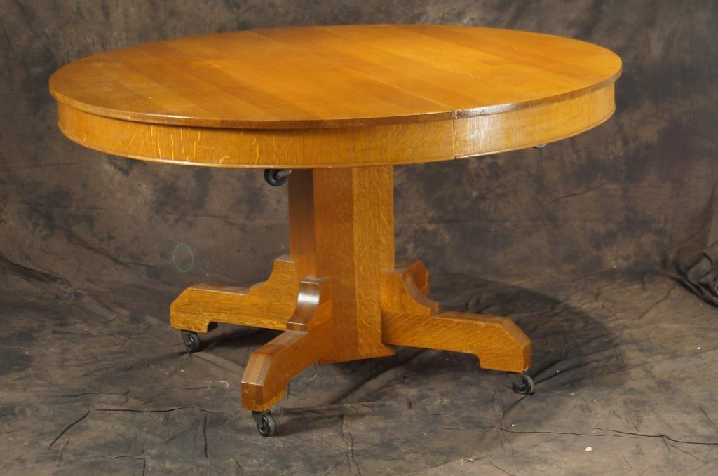 """Mission oak 54"""" round pedestal table & 4 chairs"""