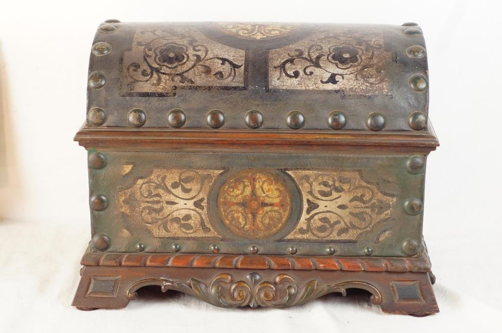 Spanish treasure chest - hand painted leather