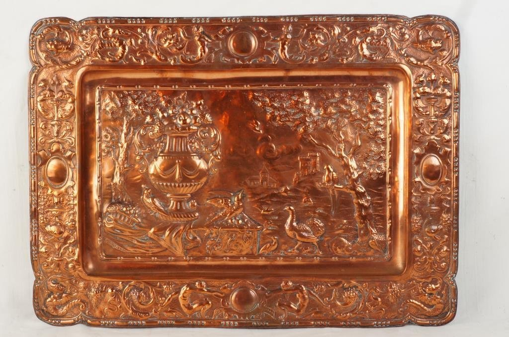 Spanish embossed copper wall plaque