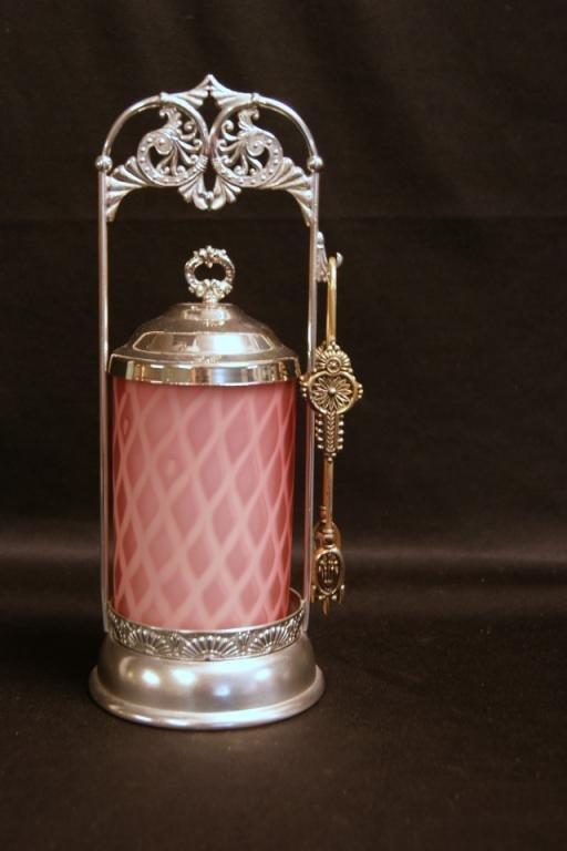 """Antique cranberry Satin glass pickle jar 11"""""""