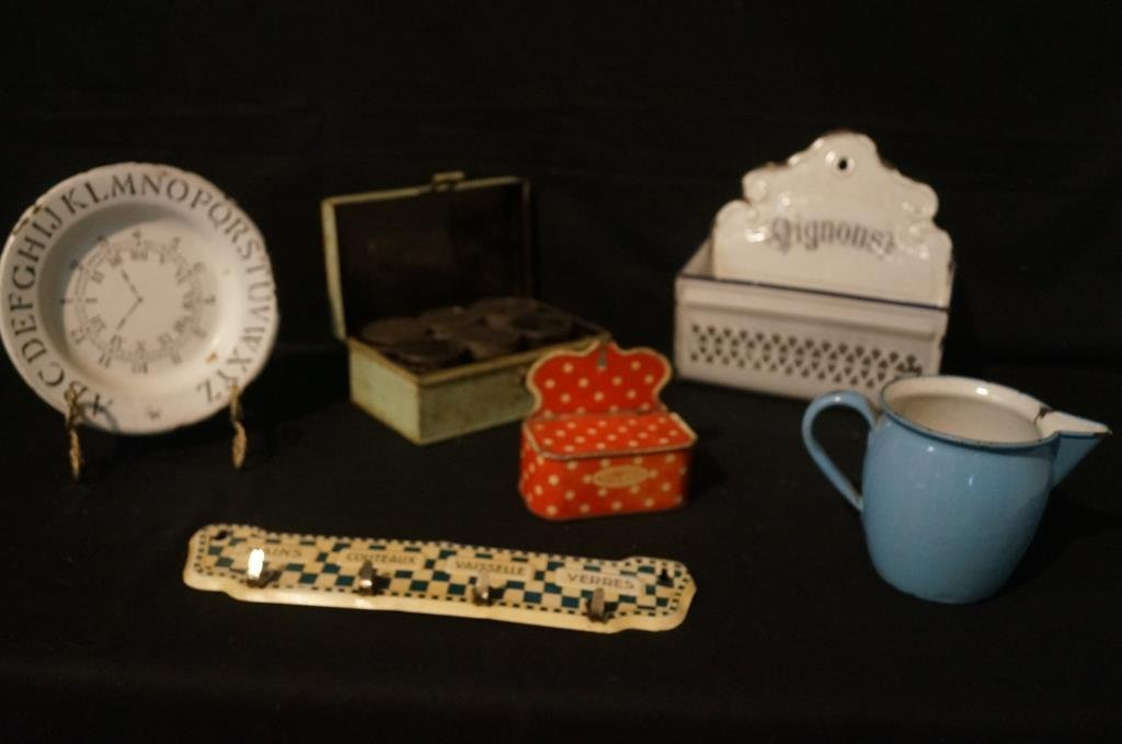 Coll. Antique French Enamel & Tin Kitchen pcs