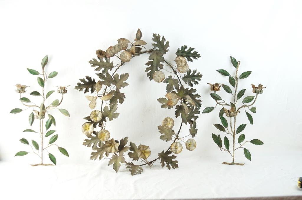 19th c French metal wreath and side florals